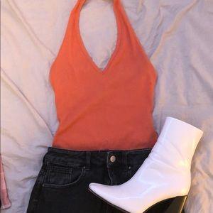 Orange halter bodysuit